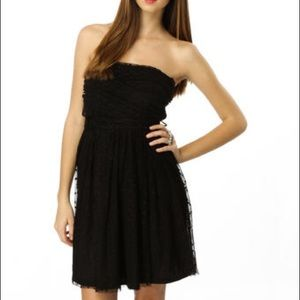Mystic Strapless Black Polka Dot Lace Dress